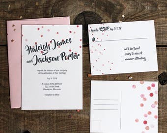 pink polka dot wedding invitation set - 50 invitations and RSVP post cards postcards wedding stationery
