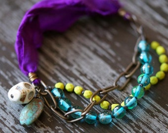 Peacock Bracelet - Silk - Peacock Colors - Knotted Bracelet - Skull Bracelet - Chain Bracelet - Bead Soup Jewelry