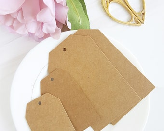 50 High Quality Kraft Tags: Small or Jumbo Size. Great as Wedding Tags, Favor Tags, Hang Tags, Price, Luggage or Parcel Tags
