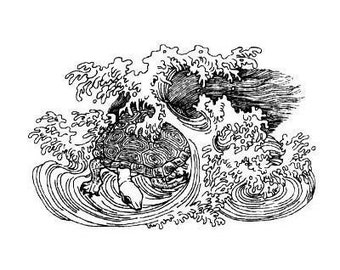Sea Turtle in Waves UNMOUNTED rubber stamp, ocean, Japanese, Sweet Grass Stamps No.12