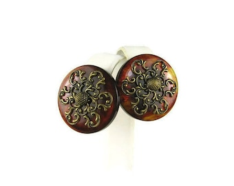 Brown Swirl Bakelite Earrings