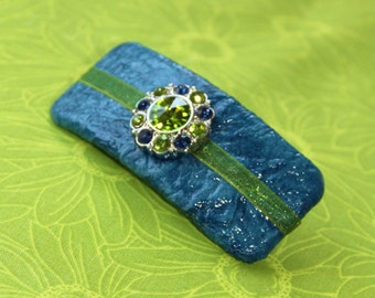 Blue and Green Jewel Barrette