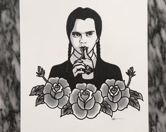 Wednesday Addams original artwork