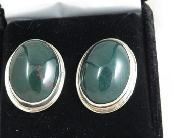 Sterling Silver Earrings with Bloodstone Cabochons