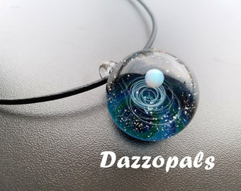 Space Glass Galaxy Pendant - Glass Necklace - Borosilicate -Nebula Pendant - Universe Jewelry - Universe Necklace - Galaxy Pendant SD75