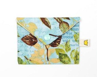 Mini envelope pouch, blue creditcard purse,  leaf coin pouch with a snap, knitting accessory storage for 9 inch circular needle