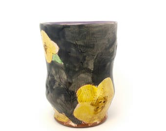 Gray Puffy Floral Earthenware Tumbler. Wheel thrown and altered, food safe cup, made by Kaitlyn Brennan/ Brennan pottery