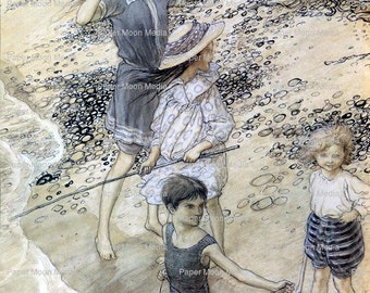 Large Vintage Digital Print From Arthur Rackham:Beach Art Print, Instant Download JPG file