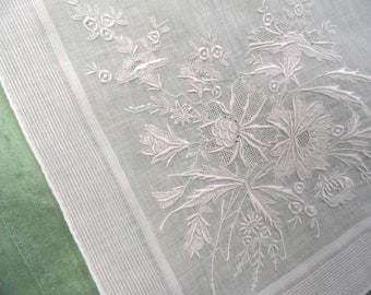 White on white embroidered handkerchief / vintage linen hankie /  wedding hankie