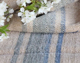 F426 : antique, handloomed, faded CORNFLOWER BLUE ;grainsack, pillow, cushion, runner, 32.28 long,upholstery project,french lin,decor