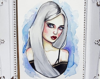Autumn - Goth Girl #03. Original Watercolor Painting. Goth Girl with Grey/Silver Hair and Blue Background.