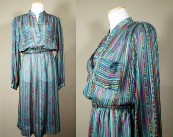 Jewel Tone SHEER Dress + Vintage 80s Turquoise Striped Dress + Teal Green Power Dress + Slouchy Dress + Geometric Print + Long Sleeve +