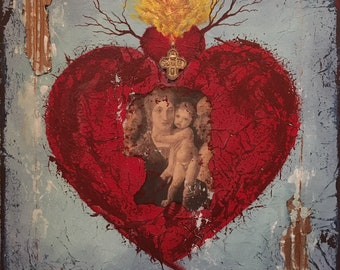 Mexican Sacred Heart Painting - Little Cross