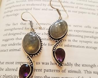 Labradorite & Amethyst Handmade Earrings
