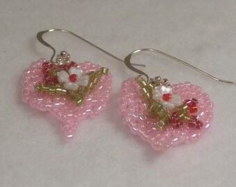 Sale Beadwoven Pretty Pink Heart  Earrings