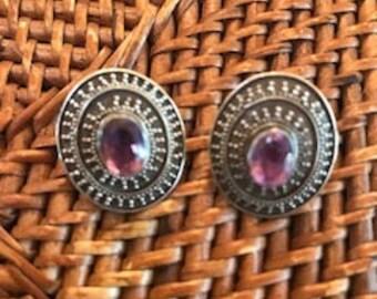 Vintage  amethyst , earrings Sterling silver