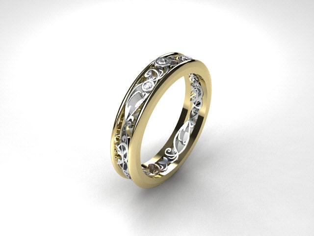 Thin Filigree ring Diamond ring two tone white gold yellow