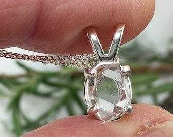 "5x8mm Herkimer Diamond Pendant - Herkimer Jewelry - Herkimer Pendant - Herkimer Diamond Necklace - 16"" Sterling Silver chain"