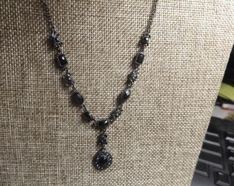 Signed VCLM Lariat Blue and Black Rhinestone necklace.