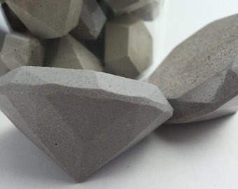 Concrete Diamond Paper Weight Hand Made