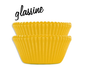 Yellow Glassine Baking Cups - 50 bright solid yellow paper cupcake liners