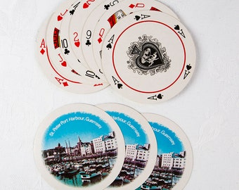 Vintage Round Playing Cards - St. Peter Port Harbour, Guernsey