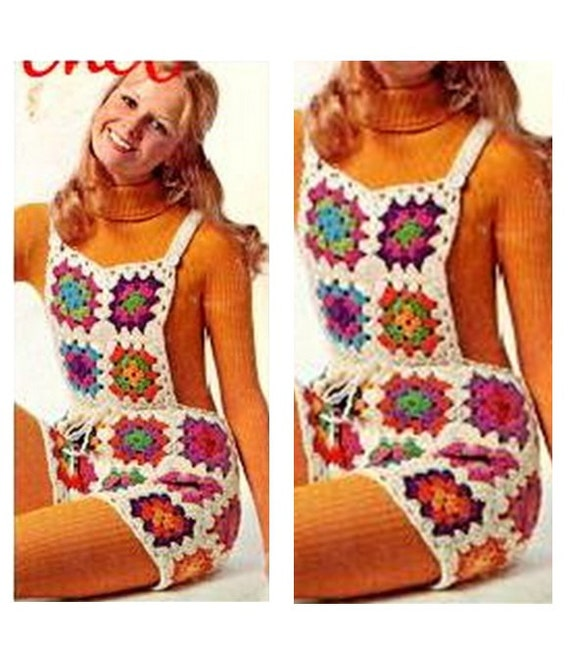 Patron pdf de tejido en crochet overall shorts de cuadros