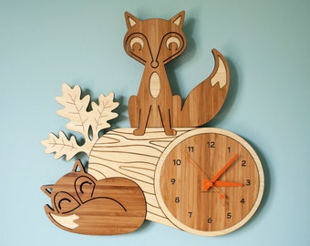 Wood Nursery Wall Clock: Fox Woodland Forest Animal Bamboo Decor for Baby, Boy, Girl, Kids, Children