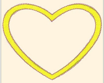 Beautiful Applique Heart Machine Embroidery design Pattern Instant Download