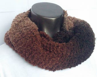 Rich Brown Hand Knit Short Boucle Infinity Scarf or Cowl Ready to Ship