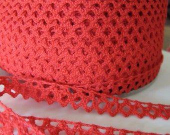 Red Cluny Lace Trim -  5 Yards For 6.00 Dollars