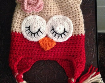 Owl Hat- Red & Beige with Pink Flower