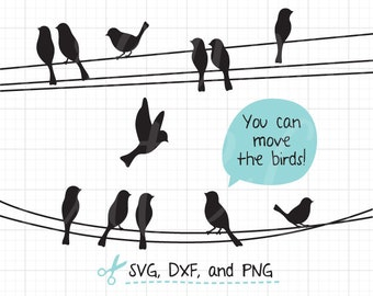 Birds on Wires SVG DXF Birds on a Wire SVG Birds on Wire Silhouette svg dxf Cut File for Cricut and Silhouette Clip Art