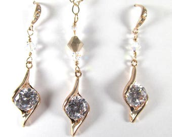 Rose Gold Fill Large Clear Crystal Hand Made Necklace and Earring Set with Swarovski Crystal AB Accents