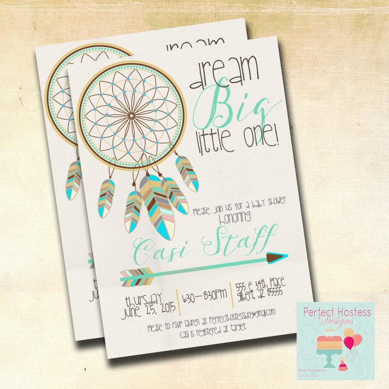 Fantastic Boy Boho Dream Catcher Baby Shower Invitation LC48