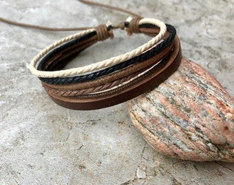 Mens Bracelet Gift Under 10 Men's Leather Bracelet  Boyfriend Gift For Him Graduation Gift, JLA73
