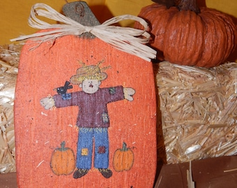 Pumpkin Patch Scarecrow Autumn Fall Country Primitive Solid Wood Handmade Wall Hanging