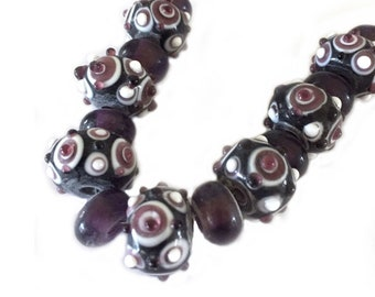 Lampwork Glass Beads for Jewelry Making Purple and Black 10mm to 13mm