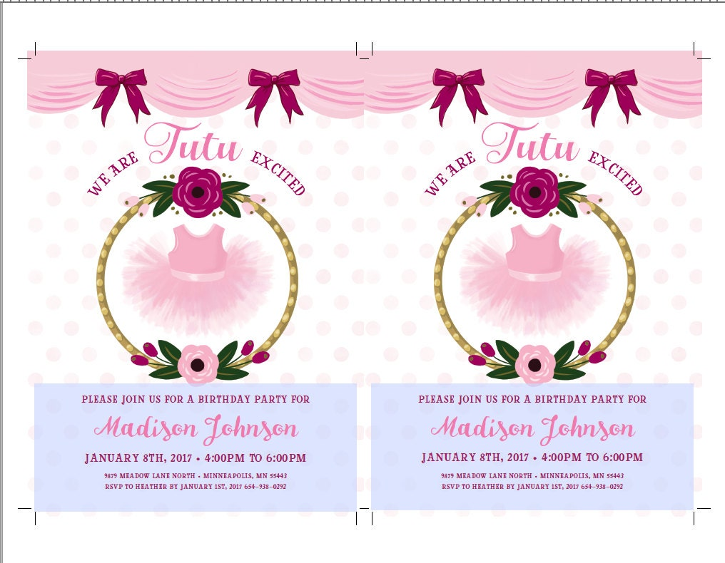 Tutu birthday invitations ballerina party invitations ballerina tutu birthday invitations ballerina party invitations ballerina party ballet birthday pink floral tutu cute tutu excited tutu party filmwisefo Image collections
