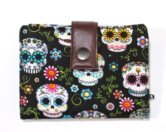 Handmade women wallet - small and slim - Black with small skulls with floral - colorful calaveras - ID clear pocket - ready to ship