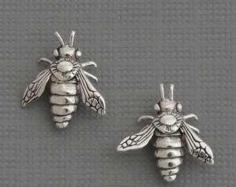 Tiny sterling silver bee stud earrings honey bee earring bumble bee earrings insect jewelry cartilage bumblebee earring second hole earring