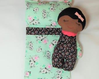 Handmade doll, Darling Dreamers Set, girl doll, cloth doll, baby doll, doll bed, dark skin doll