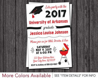BBQ Graduation Party Invitation - ANY University or College - Class of 2017 Graduation Invitation