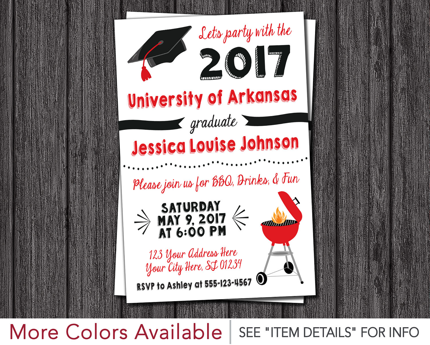 Bbq graduation party invitation any university or college zoom filmwisefo Images