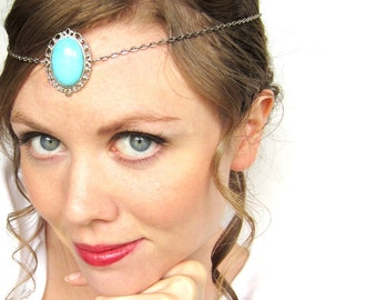 REDUCED PRICE Princess Circlet in Silver and Sky Blue