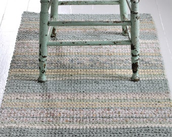 "Striped 46""long x 25"" wide Pastel Runner Rug, Hand Crocheted Rag Rug, Shabby Chic Rag Rug Runner, Country Farmhouse Rug, Wedding Gift Idea"