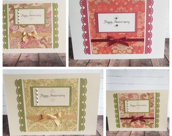Handmade Happy Anniversary Card Vintage style - Choice of Design A5 Size