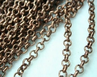 Heavy Duty Antique Copper Rollo Cross Chain - 6ft