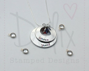 Hand stamped personalised name offset washer necklace, birthstone, stacked necklace, children's names, mummy necklace, grandma necklace