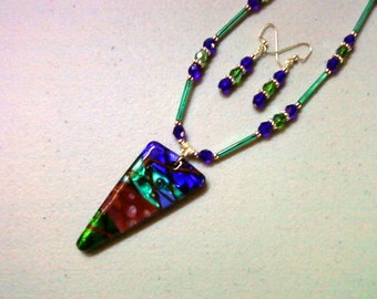 Cobalt Blue, Teal, Red and Emerald Necklace and Earrings (0425)